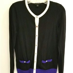 Ann Taylor black and purple cardigan size M